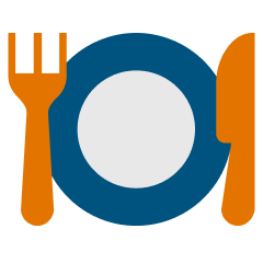 Fork, plate, and knife