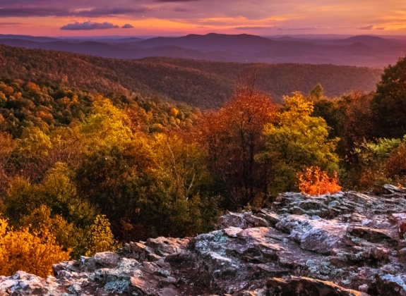 Shenandoah National Park landscape view at sunset