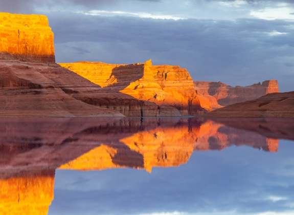 Reflection on Lake Powell in Glen Canyon National Recreation Area, Utah