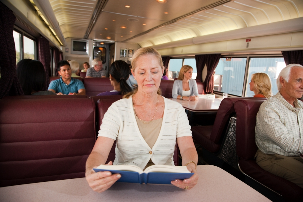 Woman Reading Book in Lounge Car