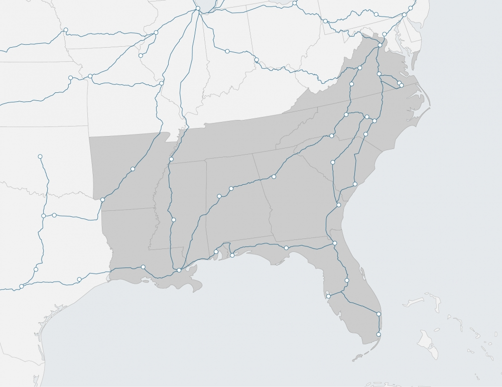 region map of southern US
